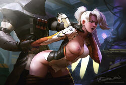 1boy 2018 arm_held_back blizzard_entertainment blurry blurry_background breasts closed_eyes clothed_sex digital_drawing_(artwork) digital_media_(artwork) doggy_style female grabbing grabbing_from_behind high_ponytail highres hood long_sleeves makeup mercy open_mouth overwatch pants_pull patreon_username ponytail rape reaper revision sex shaded_face shadow short_ponytail signature single_wing straight tarakanovich tongue torn_clothes trench_coat watermark web_address white_hair wings