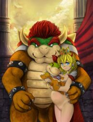 2boys age_difference armlet bowser bowser_jr. brown_hair claws closed_mouth cowboy_shot earrings eyebrows_visible_through_hair fang female hair_between_eyes holding horns jewelry looking_at_viewer looking_to_the_side mario_(series) multiple_boys navel necklace nude pregnant princess_peach pussy robert_knight smile standing star star_necklace super_mario_bros. teeth thick_eyebrows uncensored