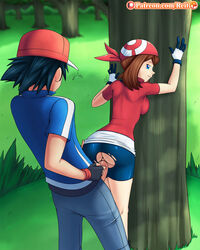 1boy 1girl against_tree anus back bandana big_penis bike_shorts black_hair blue_eyes breasts brown_hair clothed clothed_sex doggy_style erection female forest gloves grass green_background hat human looking_at_viewer looking_back may_(pokemon) nintendo outdoors outside pants patreon penis penis_out pokemon pokemon_rgby pokemon_rse pokemon_trainer pussy pussy_juice reit satoshi_(pokemon) sex shadow shirt shoes skintight smile standing straight text torn_clothes tree url vaginal_penetration veins veiny_penis watermark wet