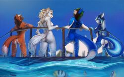 anthro arched_back ass backsack balls big_breasts big_butt black_hair black_nose blue_eyes blue_fur blue_hair blush breasts brown_hair canine casual_nudity day ear_piercing female fish fluffy fluffy_tail fox fur girly green_hair group hair humanoid_hands long_hair looking_at_viewer looking_back male mammal maria_whiteblood marine multicolored_fur multicolored_hair nipples nude nudist orange_fur outside piercing princess_(paigeforsyth) red_eyes saphayla_(zelianda) side_boob sky smile standing tattoo totesfleisch8 water white_balls white_fur white_hair wolf