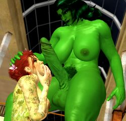 3d areolae ass balls batman:_arkham_knight batman_(series) body_markings breasts collarbone crossover dc duo erection female flower futa_on_female futanari green_eyes green_hair green_nipples green_skin hair_flower hand_on_head hand_over_mouth head_grab highres huge_balls huge_breasts huge_cock imminent_oral kneeling large_breasts larger_futanari long_hair long_penis looking_down looking_up marvel navel nipples penis penis_awe pissgrrl poison_ivy pubic_hair red_hair she-hulk size_difference smaller_female smile standing thick_thighs toned xnalara