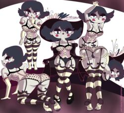 ass black_eyes breasts cameltoe curly_hair curvy dat_ass eclipsa_butterfly feet foot_fetish goth green_hair milf monochrome pirateloadingbay skin solo star_vs_the_forces_of_evil stockings white_skin