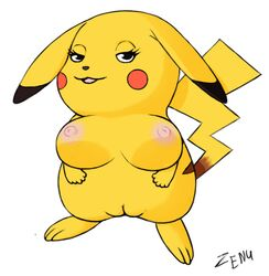 1girl 3_toes anthro areolae belly big_breasts big_ears black_fur breasts brown_fur eyelashes feet female female_only fur furry half-closed_eyes large_breasts long_ears looking_at_viewer nintendo nipples nude open_mouth paws pikachu pokémon_(species) pokemon pokemon_rgby pussy rodent smile solo standing tail text thick_thighs tongue video_games watermark white_background wide_hips yellow_fur zenu