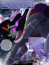... aged_up alicorn anus aquamarine_(gem) armor ass battle black_hair black_tail blood blue_eyes blue_hair blue_tail blush building cape clothing comic crown crystals dock dragon english_text equine eyelashes eyeshadow feathered_wings feathers featureless_crotch female feral fluffy fluffy_tail flurry_heart_(mlp) flying friendship_is_magic fur gem gold_(metal) green_belly green_eyes green_scales green_sclera grey_fur grey_horn group hair holding_character holding_object hooves horn horse king_sombra_(mlp) long_hair looking_back looking_down low-angle_view makeup mammal mostly_nude multicolored_hair multicolored_horn multicolored_scales my_little_pony naked_cape nosebleed nude open_mouth open_smile outside pink_feathers pink_fur pink_horn pink_tongue pony purple_hair purple_scales purple_tail pussy red_eyes red_horn royalty rule_63 scales scalie scepter sharp_teeth silhouette silver_(metal) slim smile snow snowing solo_focus spade_tail spike_(mlp) standing sweat teeth text tongue two_tone_hair two_tone_horn two_tone_tail unconvincing_armor unicorn vavacung wings