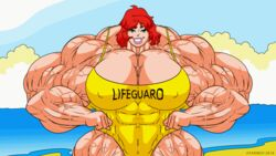 amazon animated archie_comics atariboy2600 bathing_suit beach breasts cheryl_blossom flexing green_eyes grin hyper_breasts hyper_muscles lifeguard muscle_growth muscles muscular muscular_female red_hair riverdale swimsuit veins veiny_muscles
