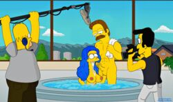 abs animated breasts cuckold cum cum_in_mouth cum_inside fellatio female filming glasses guido_l handjob homer_simpson jacuzzi looking_at_another male marge_simpson muscular_male nude oral penis smile straight the_simpsons