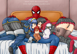 1boy 2girls all_fours armor ass ass_grab bed black_hair blue_hair blush bodysuit boots breast_press breasts cameltoe cape crossover fire_emblem fire_emblem:_kakusei gradient_hair long_hair lucina marvel multicolored_hair multiple_girls open_mouth panties pants pantyshot penis red_cape red_hair ruby_rose rud-k rwby shiny shiny_clothes shiny_hair shiny_skin short_hair sideboob skirt spider-man spider-man_(series) testicles thigh_boots thighhighs uncensored