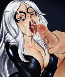 1boy black_cat_(marvel) breasts cherry-gig cleavage closed_eyes cum cum_on_hair domino_mask facial felicia_hardy female fur_trim highres huge_breasts lipstick_mark long_hair marvel mask open_clothes open_mouth penis silver_hair spider-man spider-man_(series) tongue_out upper_body