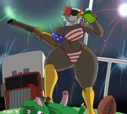 2018 4th_of_july alcohol avian bald_eagle ball beak beer beverage bikini bird breasts cleavage clothed clothing domination duo eagle erection eyewear female female_domination fireworks football_(ball) gun hi_res holidays humanoid_penis lizard male non-mammal_breasts penis plaga ranged_weapon reptile scalie shotgun signature standing straight sunglasses swimsuit thick_thighs truck united_states_of_america vehicle weapon wide_hips