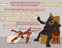 2018 4_toes 5_fingers absurd_res anthro asrael_zogendral balls begging biceps big_balls biped black_fur black_penis canine claws cock_ring dialogue digital_drawing_(artwork) digital_media_(artwork) diphallism domination dragging duo egyptian english_text erection flaccid foreskin fur gold_(metal) gold_jewelry hi_res hindpaw horn huge_balls humanoid_penis hyper hyper_balls imminent_sex jackal jewelry koorivlf koorivlf_tycoon leaking long_duration_stimulation magic male mammal master multi_arm multi_balls multi_limb multi_pec multi_penis muscular muscular_male nipples nude open_mouth orgasm_denial paws penis pent_up precum quad_balls red_fur retracted_foreskin simple_background slave smile story story_in_description striped_fur stripes teeth text toes tongue tycoon uncut vein