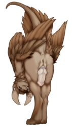 2018 alpha_channel animal_genitalia anthro anus ass ass_up bent_over blue_eyes chimera cock_ring detailed digital_media_(artwork) feathers feet_together flared_penis genital_slit head_down herm hi_res hybrid ignaelesce_s01p intersex invalid_tag knot looking_back nude paws penis presenting presenting_anus presenting_hindquarters presenting_penis presenting_pussy pseudo-penis pussy raised_tail shaded simple_background slit solo talons transparent_background tusks wings wrigglingwyvern