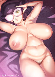 1girl aether_foundation areolae armpits bed_sheets belly big_breasts big_hair breasts busty erect_nipples female female_only glasses green_eyes half-closed_eyes hand_on_hair hand_on_head huge_breasts human jack_hamster large_breasts large_hair laying lips looking_at_viewer navel nintendo nipples nude on_back pink_glasses pokemon pokemon_sm pubic_hair purple_bed_sheet purple_hair pussy short_hair solo spread_arms teeth text thick_thighs watermark wicke_(pokemon) wide_hips yellow_eyes