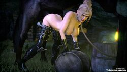 1girl 3d animated areolae balls big_balls big_breasts big_penis bouncing_breasts breasts dead_or_alive erection female from_behind horse horsecock huge_ass huge_cock human interspecies mounted nipples no_sound nude penetration rachel sex source_filmmaker stomach_bulge testicles the_firebrand thighhighs webm zoophilia