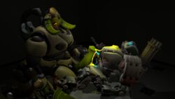 3d bastion_(overwatch) big_dom_small_sub blizzard_entertainment cum cum_on_chest cum_on_hand cum_on_penis cum_on_self dickgirl/male domination frottage futa_on_male futanari glowing_cum hand_on_penis intersex/male large_penis larger_intersex male omnic orisa overwatch robot size_difference smaller_male submissive_male wince