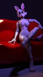 2018 3d_(artwork) alternate_form animatronic anthro barely_visible_genitalia bedroom_eyes breasts canine digital_media_(artwork) disembowell_(artist) female five_nights_at_freddy's five_nights_at_freddy's_2 fox funtime_foxy_(fnaf) hair half-closed_eyes hi_res looking_at_viewer machine mammal mangle_(fnaf) naughty_face nipples nude pink_nipples pussy robot seductive sitting sofa solo source_filmmaker video_games