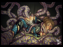 anal bodysuit boxofwant breasts broken_rape_victim brown_hair clothed_sex clothing cum cum_on_body defeated double_penetration female jill_valentine oral penetration rape resident_evil restrained sex tentacle torn_clothes