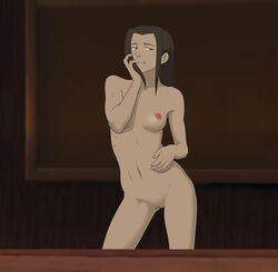 anaxus avatar_the_last_airbender azula bedroom breasts brown_eyes female finger_to_mouth light_brown_hair long_hair looking_at_viewer medium_breasts naked nipples pussy smiling solo standing tagme