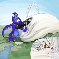 2017 4_toes anthro aquatic_dragon balls belly big_balls big_belly claws condom cum digital_media_(artwork) dragomoo dragon excessive_cum feet huge_balls hybrid hyper hyper_balls hyper_belly hyper_penis inflation inflation kittykage macro male nude paws penis talan_(talan_strider) toe_claws toes white_claws