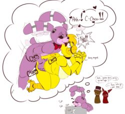 absurd_res animatronic anthro avian beak bear bent_over bird blush bonnie_(fnaf) bound breasts bubble_kitten17 canine chica_(fnaf) chicken daydream english_text eye_patch eyewear female five_nights_at_freddy's forced fox foxy_(fnaf) freddy_(fnaf) hi_res imagination lagomorph licking machine male mammal monochrome professorcomms rabbit rape robot rope sex speech_bubble straight text tongue tongue_out video_games