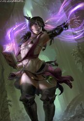 abs bra breasts cleavage cutesexyrobutts dragon_age female female_only morrigan panties solo thighhighs