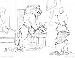 2018 4_fingers adam_wan adultery anthro anthro_on_anthro ass badge balls balls_deep being_watched big_balls black_and_white bonnie_hopps bottomless buckteeth clenched_teeth closed_eyes clothed clothing cuckold cum cum_in_pussy cum_inside cum_on_ass cum_on_ground cum_string desk discarded_clothing disney domination duo duo_focus ejaculation feline female fur group hair half-closed_eyes happy happy_sex hat inside interspecies lagomorph larger_male legs_up leodore_lionheart lion long_ears long_tail looking_pleasured looking_up lying male male_domination male_penetrating mammal mane masturbation monochrome mostly_nude motion_lines necktie on_back on_desk on_table open_mouth orgasm pants pants_down partially_clothed pattern_clothing paws penetration penis predator/prey rabbit ring rough_sex saliva sex shirt simple_background size_difference sketch smaller_female smile straight stu_hopps submissive_female table table_lotus_position teeth thrusting unprofessional_behavior vaginal_penetration voyeur white_background zootopia