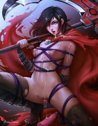 absurdres areolae aroma_sensei bondage breasts cum cum_drip cum_in_pussy cum_on_breasts cum_on_face dildo female female_only highres naked_stockings nipples nude pussy restrained ruby_rose rwby solo stockings thighhighs torn_legwear