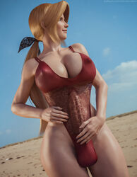 3d blonde_hair breasts bulge cleavage dead_or_alive dickgirl erect_nipples erection erection_under_clothes futa_only futanari helena_douglas huge_cock nipples one-piece_swimsuit penis penis_under_clothes solo stevencarson swimsuit