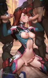 3boys abs adapted_costume areolae blizzard_entertainment breasts clothed_sex cowgirl_position cum cum_in_mouth cum_inside cum_on_breasts d.va dickgirl digital_drawing_(artwork) digital_media_(artwork) erection exposed_breasts fellatio foursome freckles futanari ginger_hair glove hand_on_another's_head hanzo highres intersex male male_on_futa male_pubic_hair mccree mostly_clothed multiple_boys multiple_penises navel nipples oasis_(map) oral overwatch patreon penetration penis sex soldier_76 tarakanovich testicles vaginal_penetration web_address whisker_markings