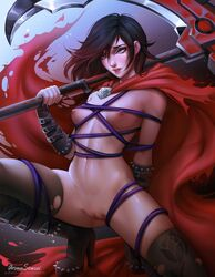 absurdres areolae aroma_sensei bondage breasts dildo female female_only highres naked_stockings nipples nude pussy restrained ruby_rose rwby solo stockings thighhighs torn_legwear