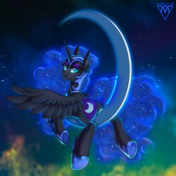 2018 alicorn anus armor ass bedroom_eyes black_feathers cosmic_hair crescent_moon cutie_mark equine eyelashes eyeshadow feathered_wings feathers female feral friendship_is_magic fur hair half-closed_eyes helmet hi_res hooves horn inner_ear_fluff long_hair looking_at_viewer looking_back lying makeup mammal margony mascara moon my_little_pony night nightmare_moon_(mlp) nude on_front portrait presenting presenting_hindquarters presenting_pussy pussy pussy_juice rear_view seductive sky slit_pupils smile solo spread_wings star starry_sky teal_eyes wings
