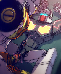 alien anal anal_sex autobot blue_eyes chromedome colored_cum cum cum_in_ass cum_inside digital_media_(artwork) duo erection hand_holding humanoid lesnee living_machine lying machine male male/male male_penetrating mask not_furry on_back penetration penis rewind_(transformer) sex simple_background size_difference transformers unusual_cum unusual_penis yellow_eyes