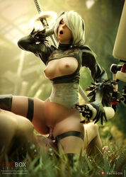 3d areolae blender breasts cowgirl_position erection female fireboxstudio male nier nier:_automata nipples penetration penis pussy sex straight vaginal_penetration yorha_2b