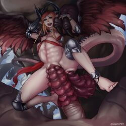 anal anal_sex animal_humanoid anus armor breasts claws clothing double_penetration dragon erection faceless_male feathered_wings feathers female female_on_feral feral gauntlets gloves group group_sex hair hi_res horn humanoid humanoid_focus humanoid_on_feral jadony large_insertion male male/female male_penetrating mostly_nude nipples open_mouth penetration penis pointy_ears pussy red_feathers red_hair ribbed_penis sex signature size_difference solo_focus stomach_bulge threesome vaginal_penetration vaginal_penetration white_skin wings zoophilia