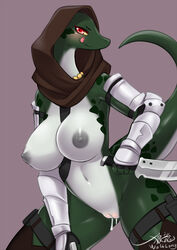 2018 anthro breasts dripping female lizard looking_at_viewer nipples non-mammal_breasts pussy pussy_juice reptile scalie smile solo weapon wolflong
