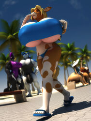 2018 3d_(artwork) abigail_roo annabelle_cow anthro anthroanim ass balls beach biceps big_balls big_breasts big_butt bikini blonde_hair bovine breasts brown_hair bulge cattle cetacean clothed clothing digital_media_(artwork) female fur giraffe hair hi_res horn huge_balls huge_breasts huge_butt hyper hyper_breasts kangaroo kenja_giraffe lipstick looking_at_viewer makeup male mammal marine marsupial mikael_sergeivish muscular muscular_female orca orphilia_orca outside palm_tree pecs seaside sky smile standing swimsuit thick_thighs tree whale wide_hips