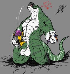 anthro balls big_balls big_penis claws cum dinosaur erection green_scales grilder123 horn huge_balls huge_cock humanoid_penis kneeling macro macrophilia male masturbation muscular muscular_male nipples nude penile_masturbation penis scales scalie simple_background solo stripes teeth theropod toe_claws tongue tongue_out white_scales