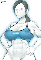 abs alternate_breast_size areola_slip areolae bottomless breasts female gray_impact large_breasts looking_down muscles muscular muscular_female navel nintendo nipples no_bra pierced_nipples ponytail shirt simple_background solo white_background wii_fit wii_fit_trainer