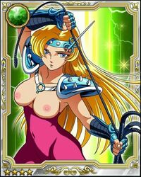 adapted_costume areolae blonde_hair blue_eyes breasts chameleon_june female female gauntlets large_breasts long_hair looking_at_viewer navel nipples photoshop saint_seiya shoulder_armor tiara topless whip