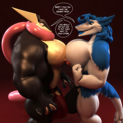 1boy 1girl 2018 3d abs alternate_color amphibian anthro anthroanim areola ass biceps big_ass big_breasts big_penis blue_eyes blue_fur blue_hair breast_size_difference breast_squish breasts breasts_frottage bulge clothed clothing comparing comparing_breasts dickgirl dickgirl/male digital_media_(artwork) duo eyeshadow fangs frog furry greninja hair hi_res huge_breasts huge_penis hyper hyper_bulge hyper_muscles hyper_penis intersex intersex/male interspecies large_penis lipstick long_tongue makeup male mammal mikael_sergeivish moobs muscular muscular_dickgirl muscular_intersex muscular_male nintendo nipples open_mouth original_character pecs penis pokémon_(species) pokemon pokemon_xy red_background sebastian_greninja short_hair simple_background smile standing tail text thick_thighs tongue tongue_out topless tumblr underwear video_games webbed_hands white_fur