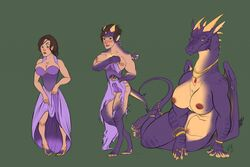 anthro big_breasts bracelet breasts clothed clothing digitigrade dragon female green_eyes horn human jewelry looking_at_viewer mammal membranous_wings multiple_images necklace nipples nude purple_scales pussy ring scales sequence sindaj smile smirk solo surprise thumb_ring torn_clothing transformation wings