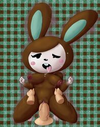 ahe_gao animal_crossing blush bouncing_breasts brown_fur carmen_(animal_crossing) disembodied_penis hands_on_hips lagomorph rabbit saliva sex soubriquetrouge tagme tongue_out