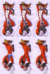 2018 4_toes 5_fingers animal_genitalia animal_penis anthro ass athletic backsack balls big_ears blue_eyes bulge canine canine_penis cheek_tuft clothing dakimakura_design ear_tuft erection facial_hair fangs fennec fox fur inviting knot looking_at_viewer looking_back lying male mammal multicolored_fur multiple_versions nude on_back on_front open_mouth orange_fur penis penis_tip presenting presenting_balls presenting_hindquarters presenting_penis pubes sheath smile solo svenfennec toes tuft underwear vallhund white_fur yellow_fur