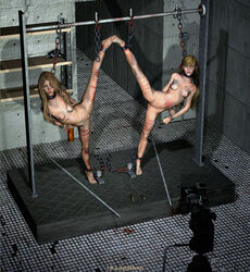 2girls 3d arms_behind_back blonde_hair bruises camera chains forced_presentation long_hair naked splits spread tip_toes torture vertical_splits