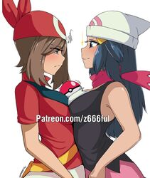 2girls armpits bag bandana bare_shoulders belt blue_eyes blush breast_frottage breasts brown_hair cleavage clothed dawn_(pokemon) eye_contact eyelashes female female_only hat human long_hair may_(pokemon) motion_lines nintendo patreon poke_ball pokemon pokemon_dppt pokemon_rse scarf shirt short_hair sideboob size_comparison skirt small_breasts smile sparkles standing text url watermark white_background yuri z666ful