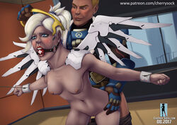ball_gag blonde_hair bound cherrysock crying female mercy nipples overwatch sex standing