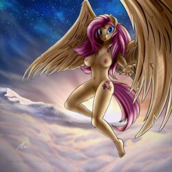 2018 anthro anthrofied areola breasts cloud equine female fluttershy_(mlp) flying friendship_is_magic hair kasaler looking_at_viewer mammal mountain my_little_pony nipples nude pegasus pink_hair pussy slying snow solo wings