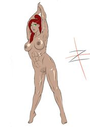 angry armpit_stubble armpits arms_up dark_skin green_eyes muscular_female nipples pubic_stubble red_hair scar scarred scars zhuty