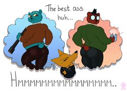 angus_(nitw) ass ass bear canine coffee extrasizedbob fox gregg_(nitw) mammal mr._chazokov_(nitw) night_in_the_woods telescope