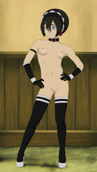 anaxus avatar_the_last_airbender blind breasts female gloves hands_on_hips high_heels looking_away naked necklace nipples small_breasts smiling solo standing stockings tagme toph_bei_fong
