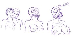 animate_inanimate breasts drone duo female fusion gender_transformation human living_rubber male mammal mask merging mtf_transformation prurientpie rubber sequence simple_background surprise transformation white_background